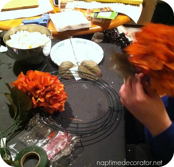 orange hydrangea wreath