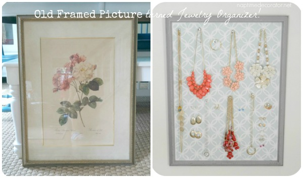 old picture frame turned jewelry organizer