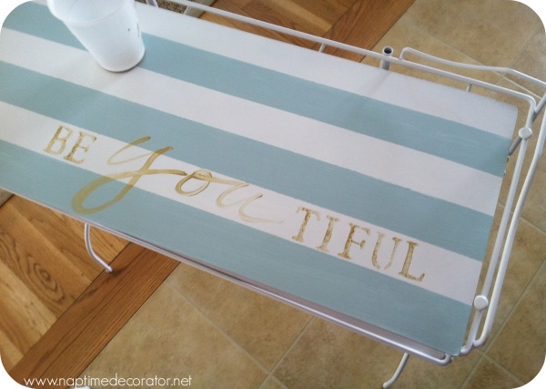 Stencil Be-you-tiful on girl's vanity