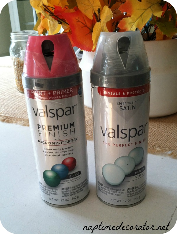 spray painting a headboard and lamp