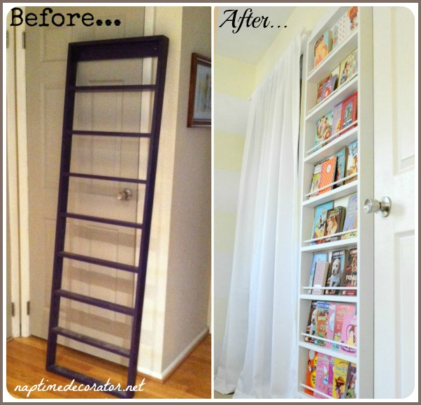 $5 yard sale ladder turned bookcase for kids room!