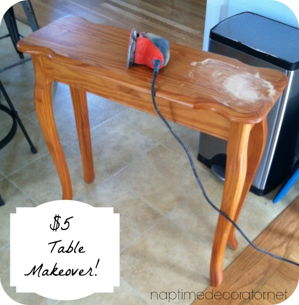 $5 yard sale table makeover