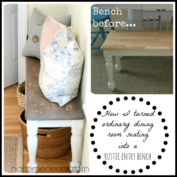 dining room seating turned rustic entry bench