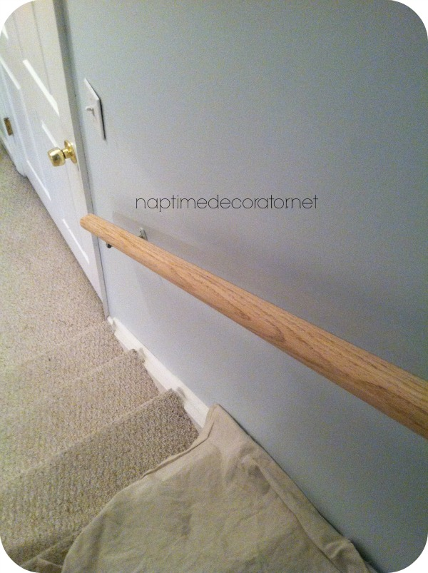oak railing makeover
