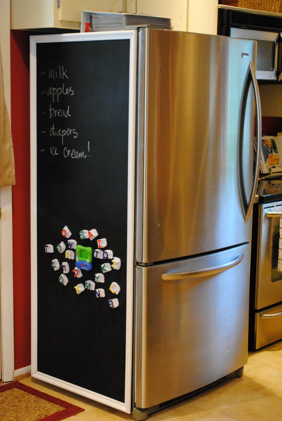 Diy Refrigerator Calendar : Chalkboard fridge update