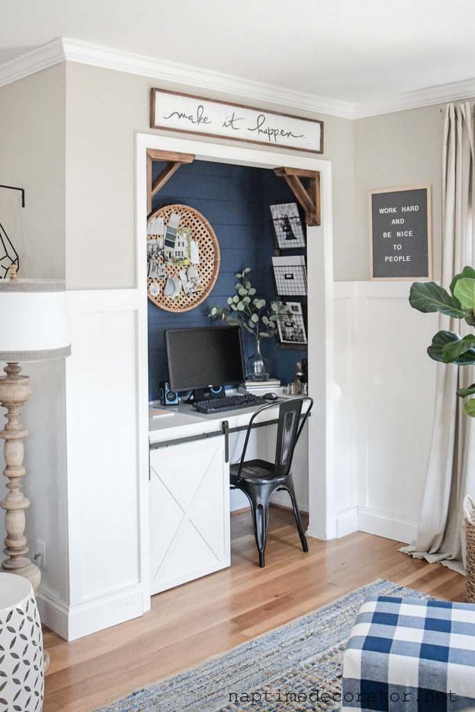 diy closet office closet reading nook and he made this diy custom desk for closetoffice