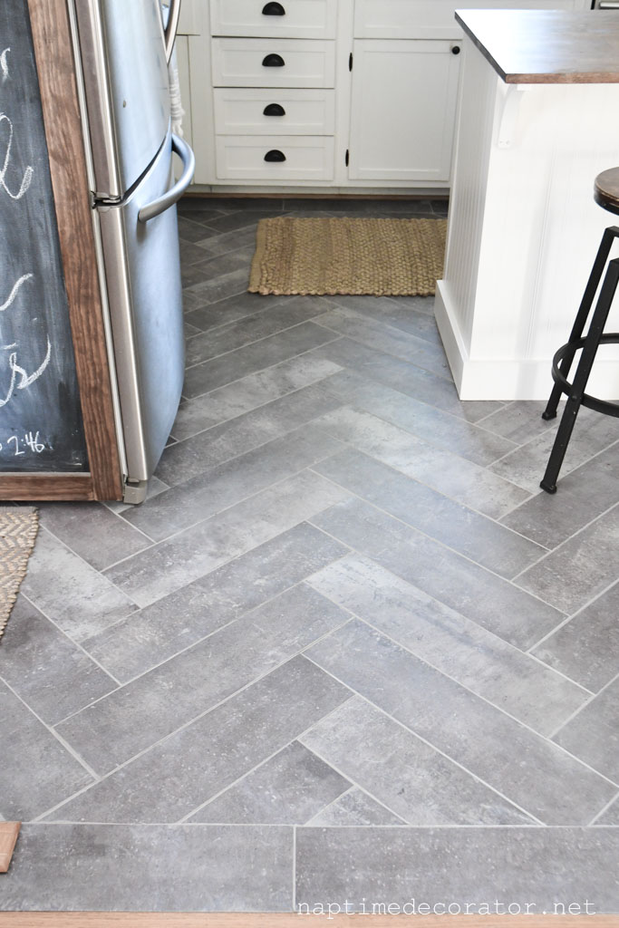 Peel And Stick Floor Tile In The Kitchen A Gorgeous Budget Friendly Diy
